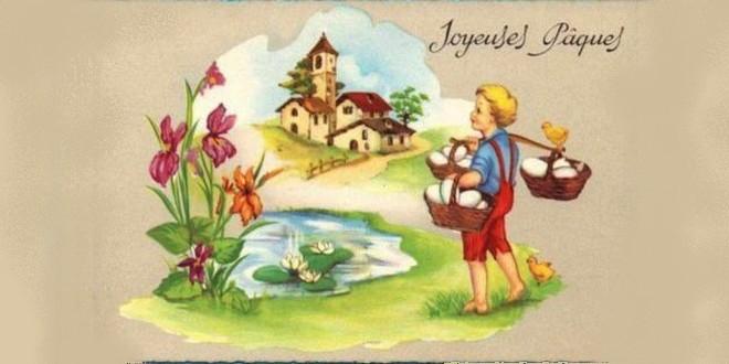 Pâques recherche œufs carte ancienne