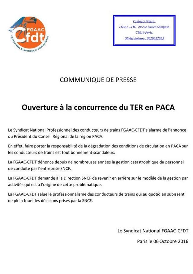 Communiqué CFDT SNCF TER PACA