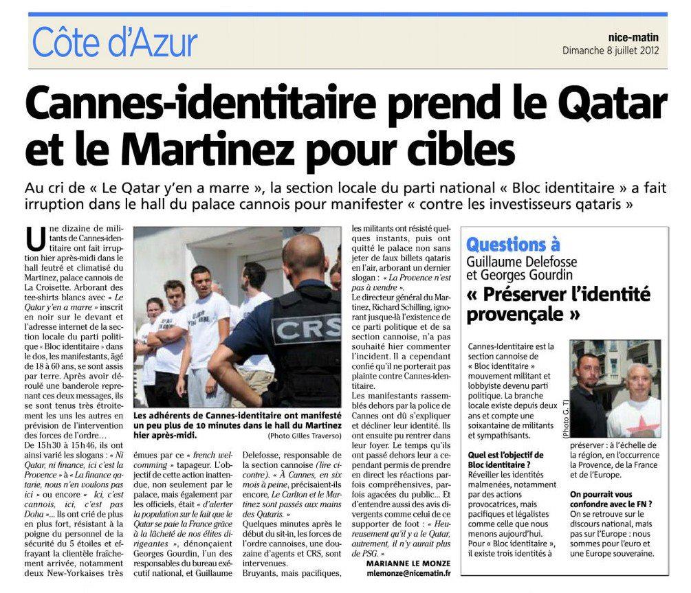Nice-Matin 8 juillet 2012 occupation Martinez Cannes-Identitaire