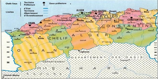Algérie administration française carte