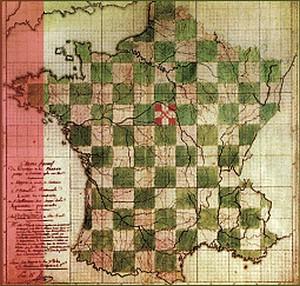France Révolution quadrillage nouveaux départements