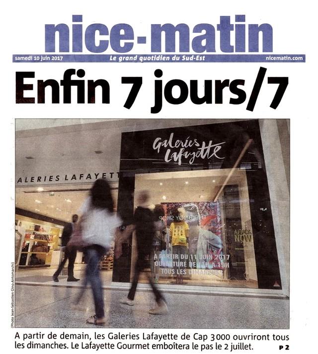 Nice-Matin 10 juin 2017 Ouverture dimanche