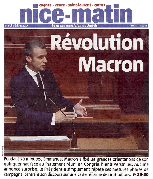 Nice-Matin 4 juillet 2017 Révolution Macron