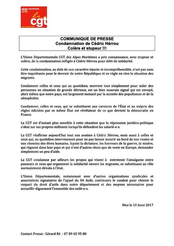 CGT - soutien Cédric Herrou - 10 août 2017