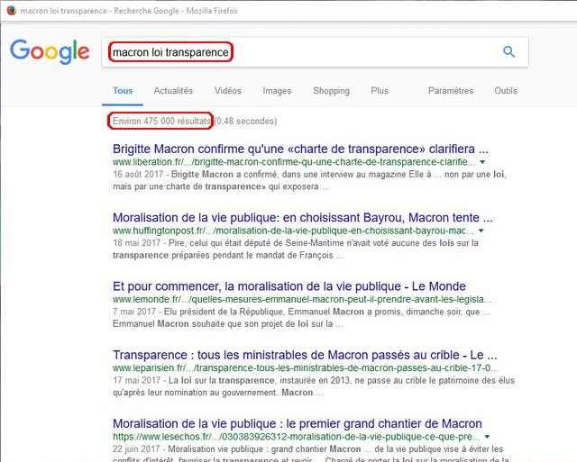 Google transparence Macron