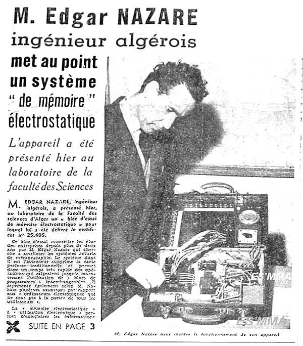 Edgard Nazare Écho Alger 30 janvier 1958