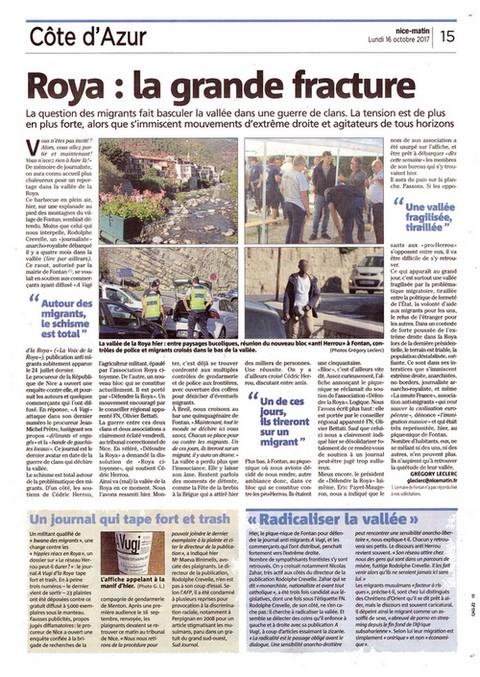 Nice-Matin 16 octobre 2017 fracture Roya