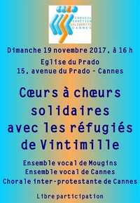 Cannes église Prado concert solidarité refugiés novembre 2017