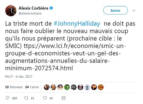 Alexis Corbière tweet Johnny Hallyday