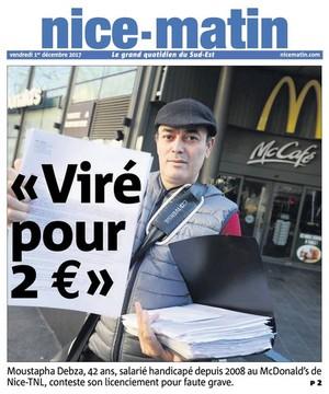 Nice-Matin 1er décembre 2017 licenciement MacDo 2 euros