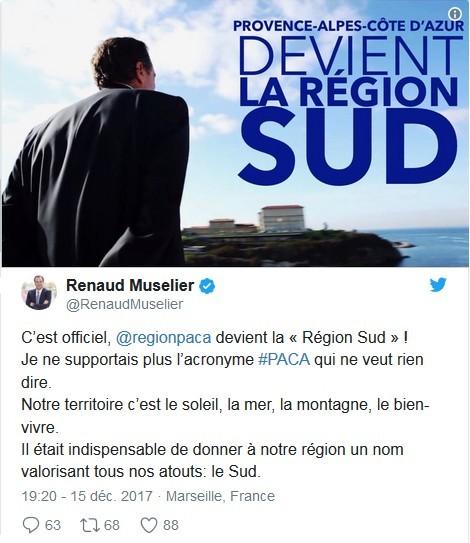 Renaud Muselier tweet Paca Région Sud