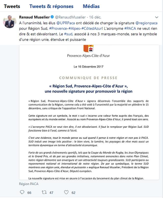 Renaud Muselier tweet Paca Région Sud (suite)