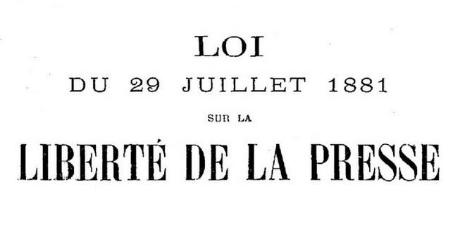 Loi 29 juillet 1881 liberté presse