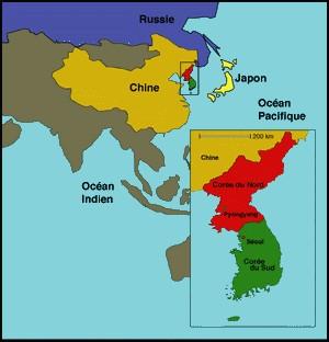 Carte Corée Chine