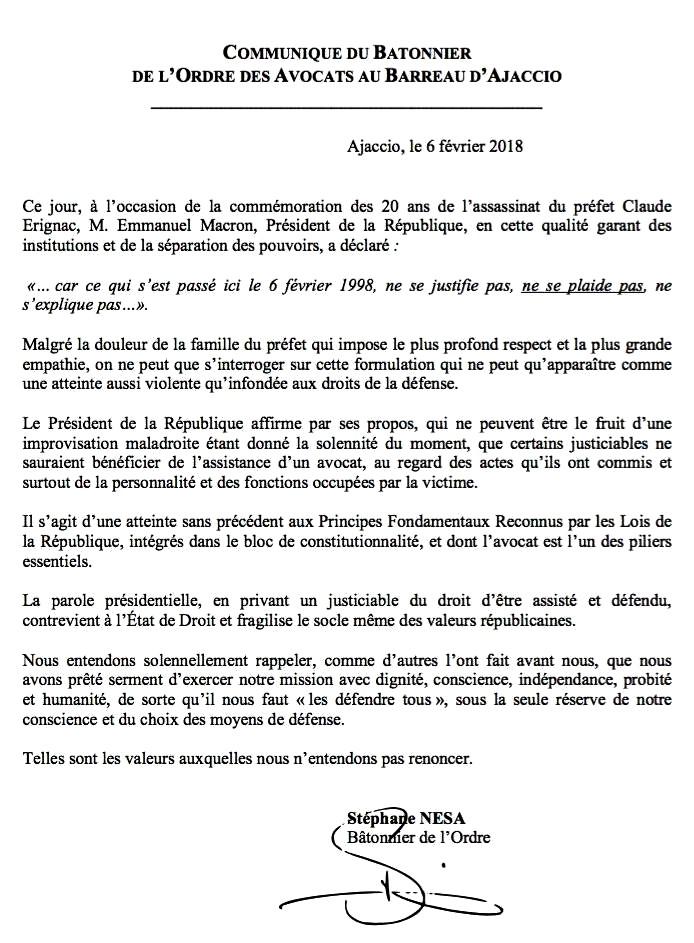 Lettre bâtonnier corse Stéphane Nesa