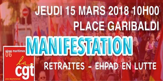 CGT manifestation Nice 15 mars 2018