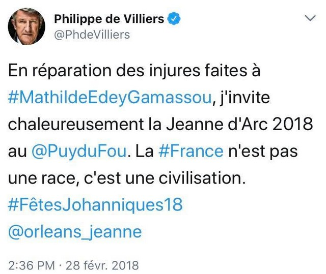 Philippe Villiers tweet Jeanne Arc