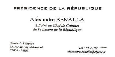Carte visite Alexandre Benalla