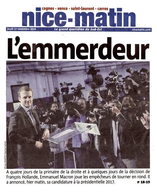 Nice-Matin Macron emmerdeur 17 novembre 2016