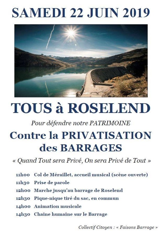 Roselend privatisation barrages