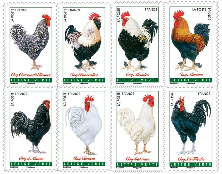 Coq timbre postal