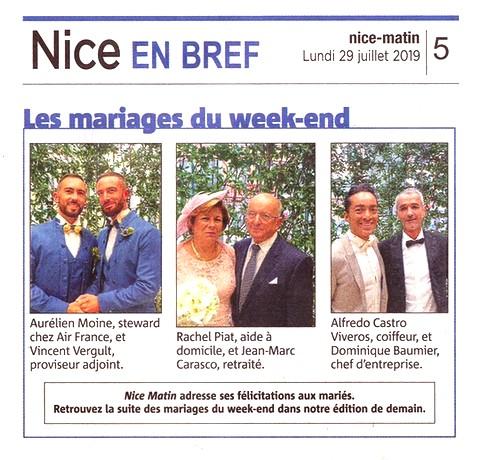 Nice Matin 29 juillet 2019 Mariages