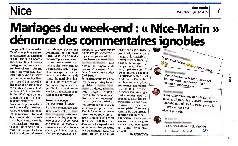 Nice Matin 31 juillet 2019 Mariages