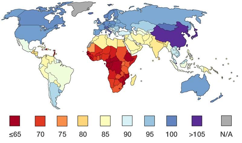Répartition du QI dans le monde