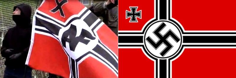 Drapeau antifa - drapeau nazi