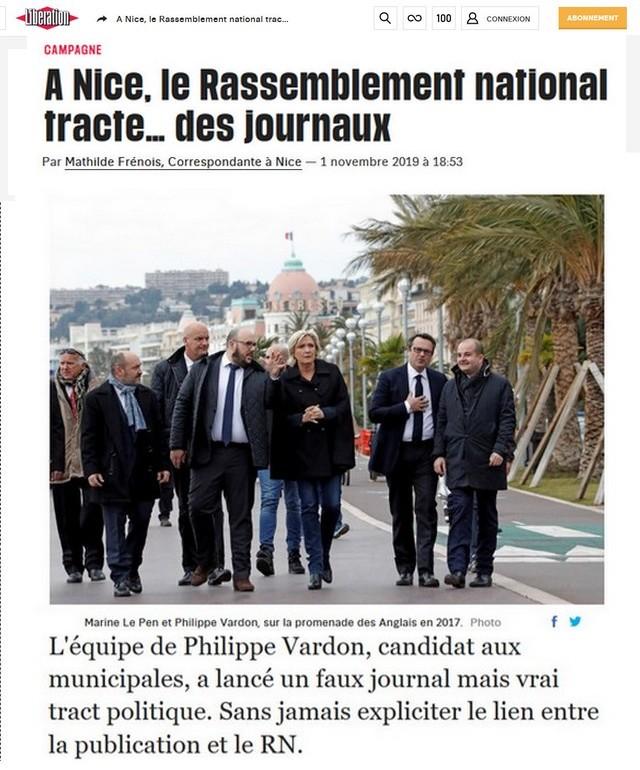 A Nice le Rassemblement national tracte… des journaux Libération