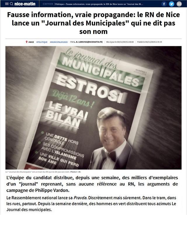 Fausse information vraie propagande le RN de Nice lance un Journal des Municipales qui ne dit pas son nom Nice Matin