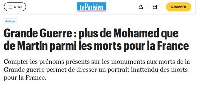 Grande Guerre Plus de Mohamed que de Martin parmi les morts pour la France Le Parisien