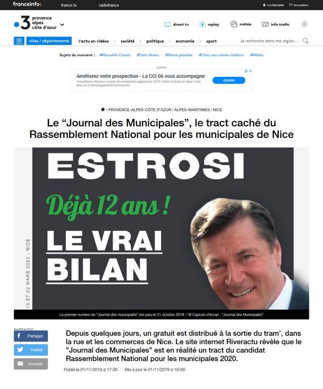 """Le """"Journal des Municipales"""" le tract caché du Rassemblement National pour les municipales de Nice France 3 Provence Alpes Côte d Azur.X"""