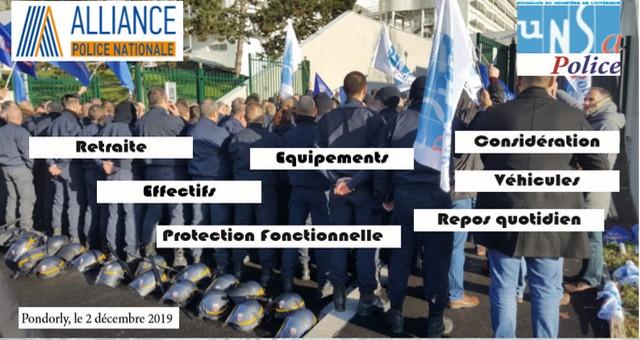 CRS en grève - 2 décemlbre 2019