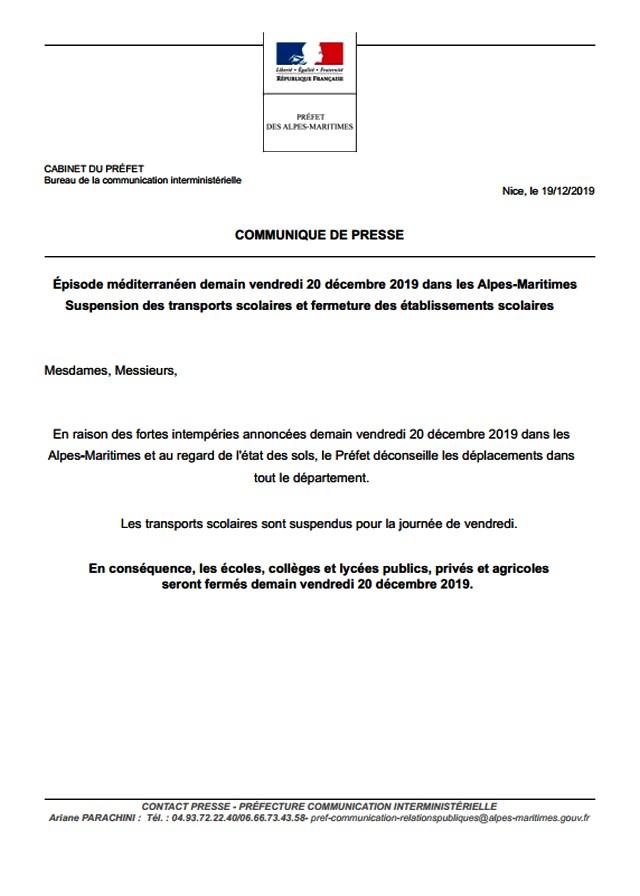 Communiqué Préfecture-Écoles fermées-20 décembre 2019