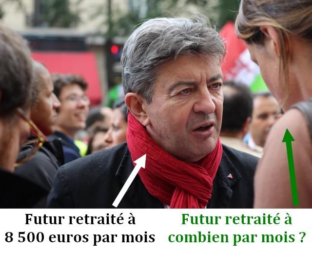 Mélenchon - retraite 8500 euros