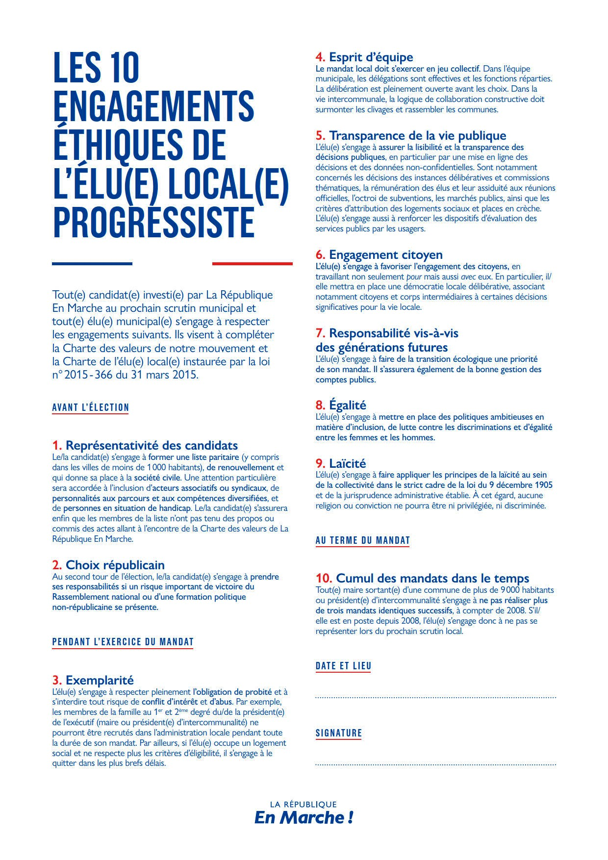 10 engagements éthiques - Élu local progressiste - LREM