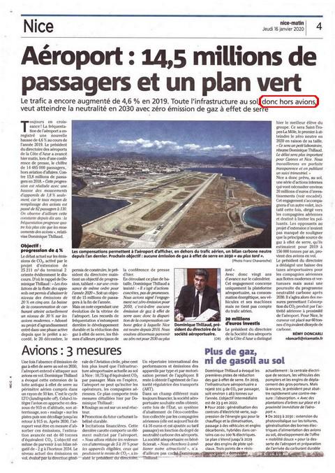 Nice-Matin - 16 janvier 2020 - Enfumage aéroport