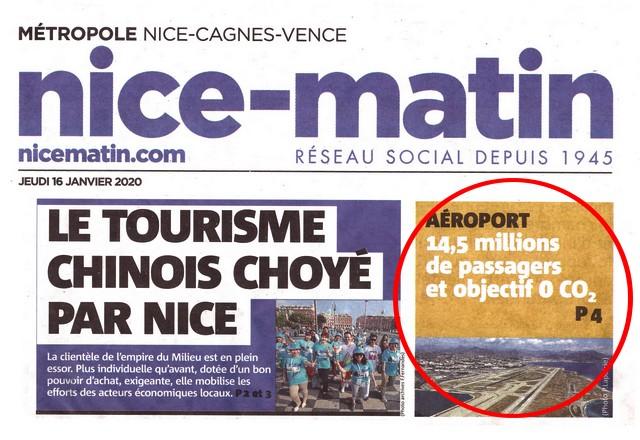 Nice-Matin - 16 janvier 2020 - Une- Aéroport