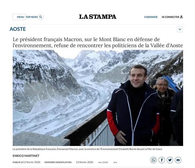 La Stampa - Macron - Mer de Glace