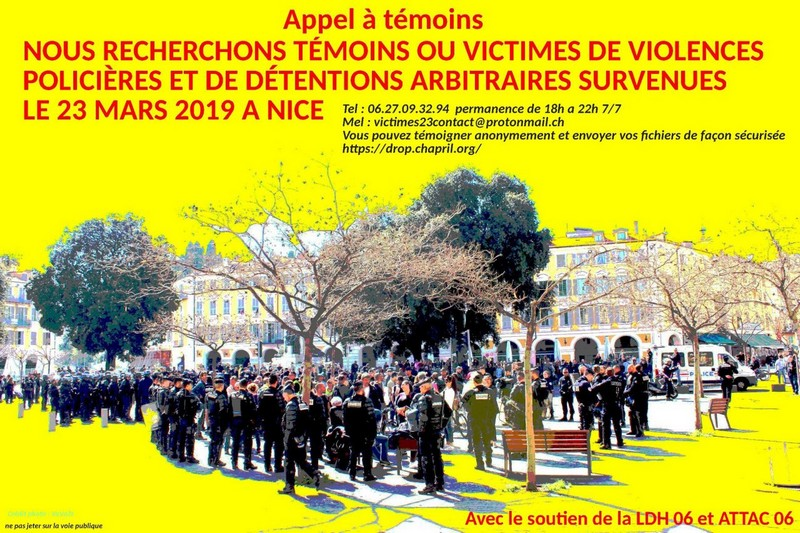 Appel à témoins violences policières Nice - 23 mars 2019