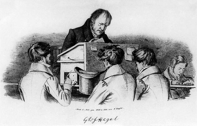 Hegel avec ses étudiants - Lithographie Kugler (1828)