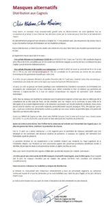 Masques alternatifs - Lettre maire Cagnes sur Mer