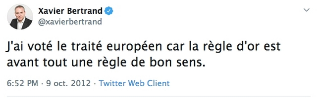 Xavier Bertrand - tweet Europe