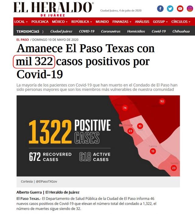 322 cases Covid El Paso