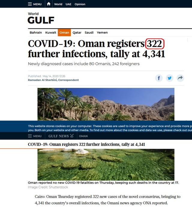 322 cases Covid Gulf