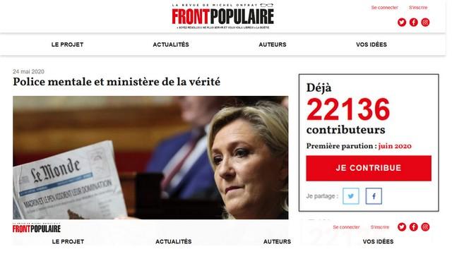 Front Populaire Michel Onfray Police mentale et ministère de la vérité