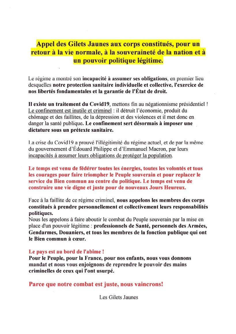 Gilets Jaunes - Cannes Victoire - 23 mai 2020 -tract