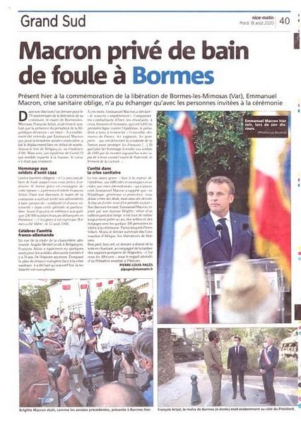 Nice-Matin - 18 août 2020 - Macron Brégançon