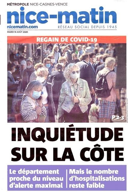 Nice-Matin - 18 août 2020 - Peur Covid